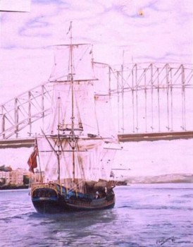 61Cm X 76Cm. Oil On Canvas. Bounty, replica by Alan Bond of the original mutiny ship. Phillip Carrero.<br /> Sailing under the Sydney Harbour Bridge